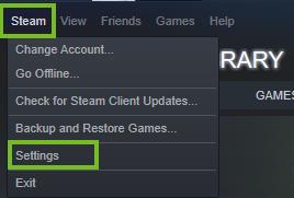 Steam settings menu