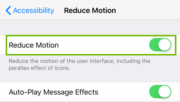 Reduce Motion menu with Reduce Motion highlighted.