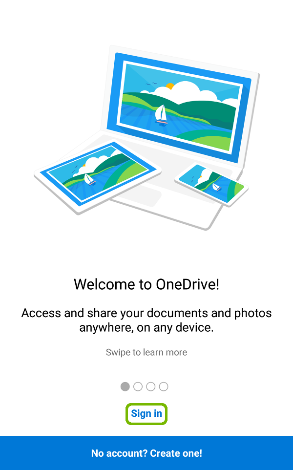 OneDrive configuration with Sign in highlighted.