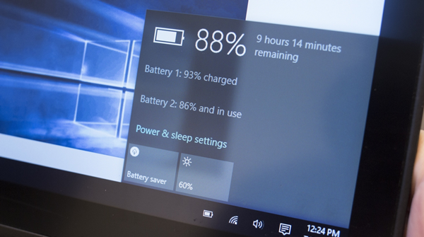 Photo of a laptop displaying remaining battery life property window.