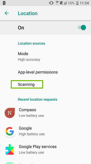 Scanning selection in an android menu