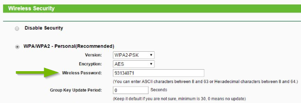 A router web menu showing the Wi-Fi password.