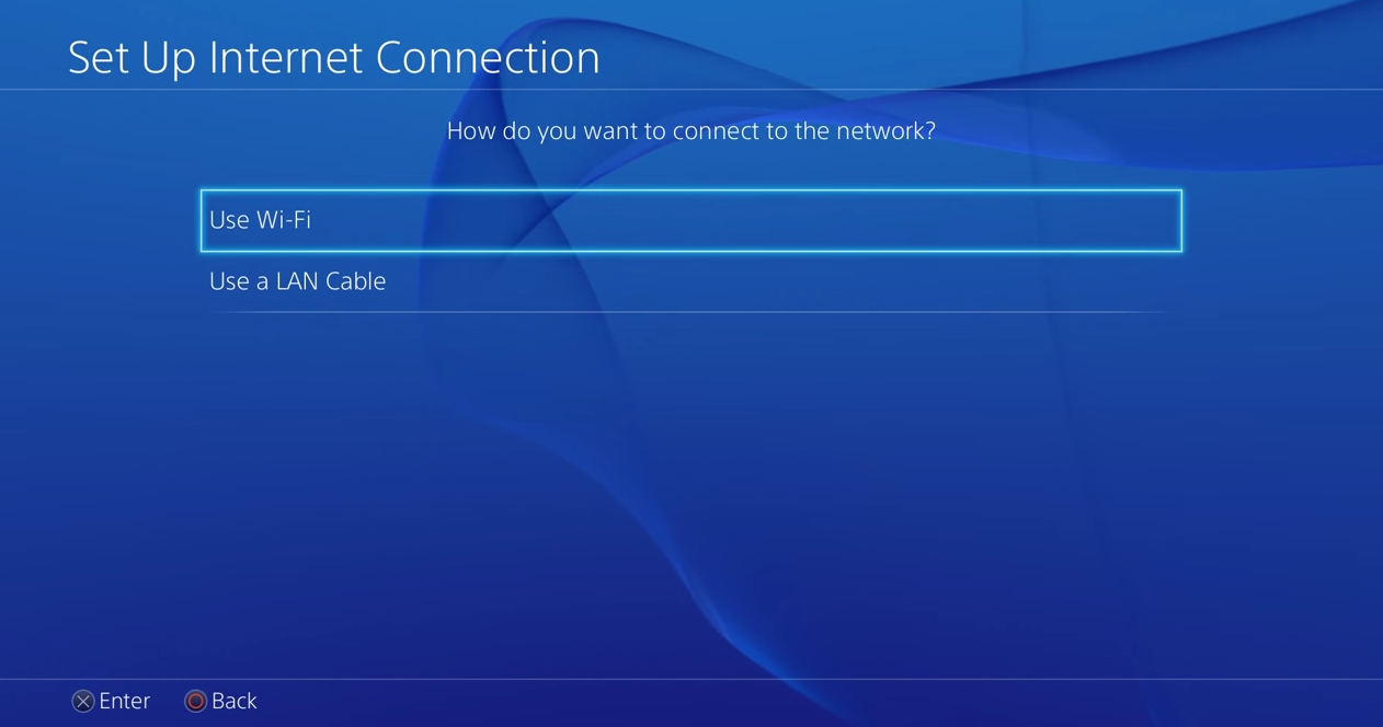 PS4 set up internet connection using wi-fi