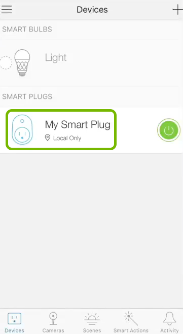Smart plug name highlighted in devices list of Kasa app.