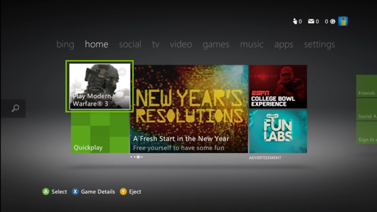 Xbox home screen with game highligted. Screenshot.