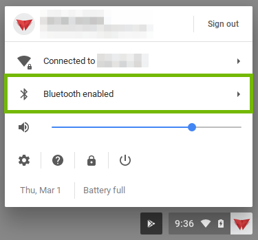 user menu with bluetooth highlighted