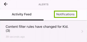 Notifications tab