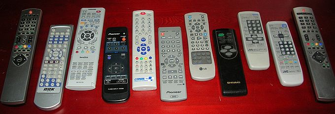 Various home theater component remote controls.