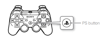 PlayStation controller with PS button highlighted