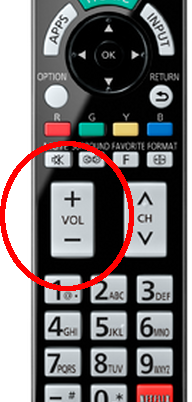 Image of a television remote control's volume up and down buttons