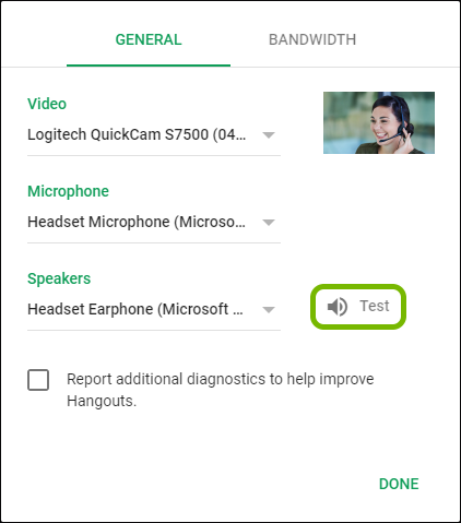 Test option highlighted next to the selected speaker in Google Hangouts settings.