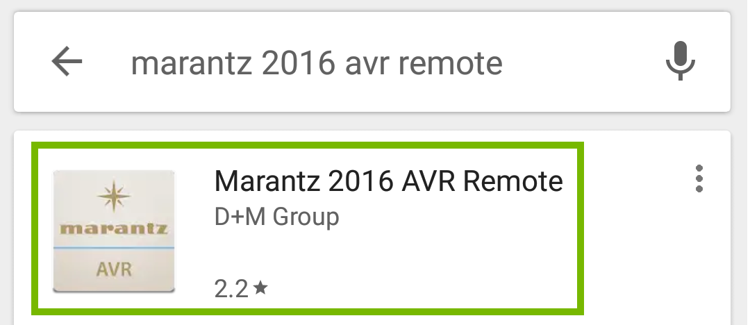 Search results with Marantz AVR Remote highlighted