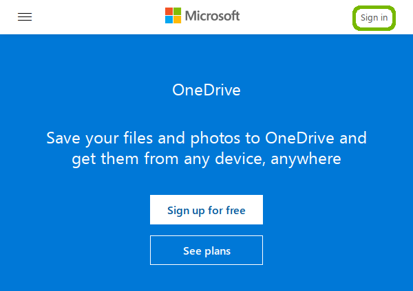 OneDrive home page with Sign in highlighted.