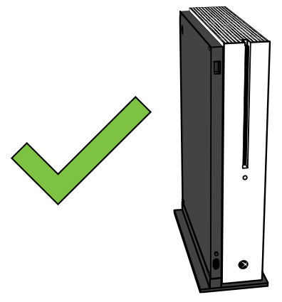 Correct vertical placement for Xbox One S or X with stand.