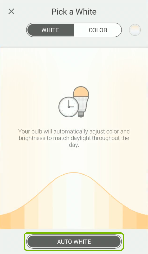 Auto-White option highlighted in bulb color picker of Kasa app.