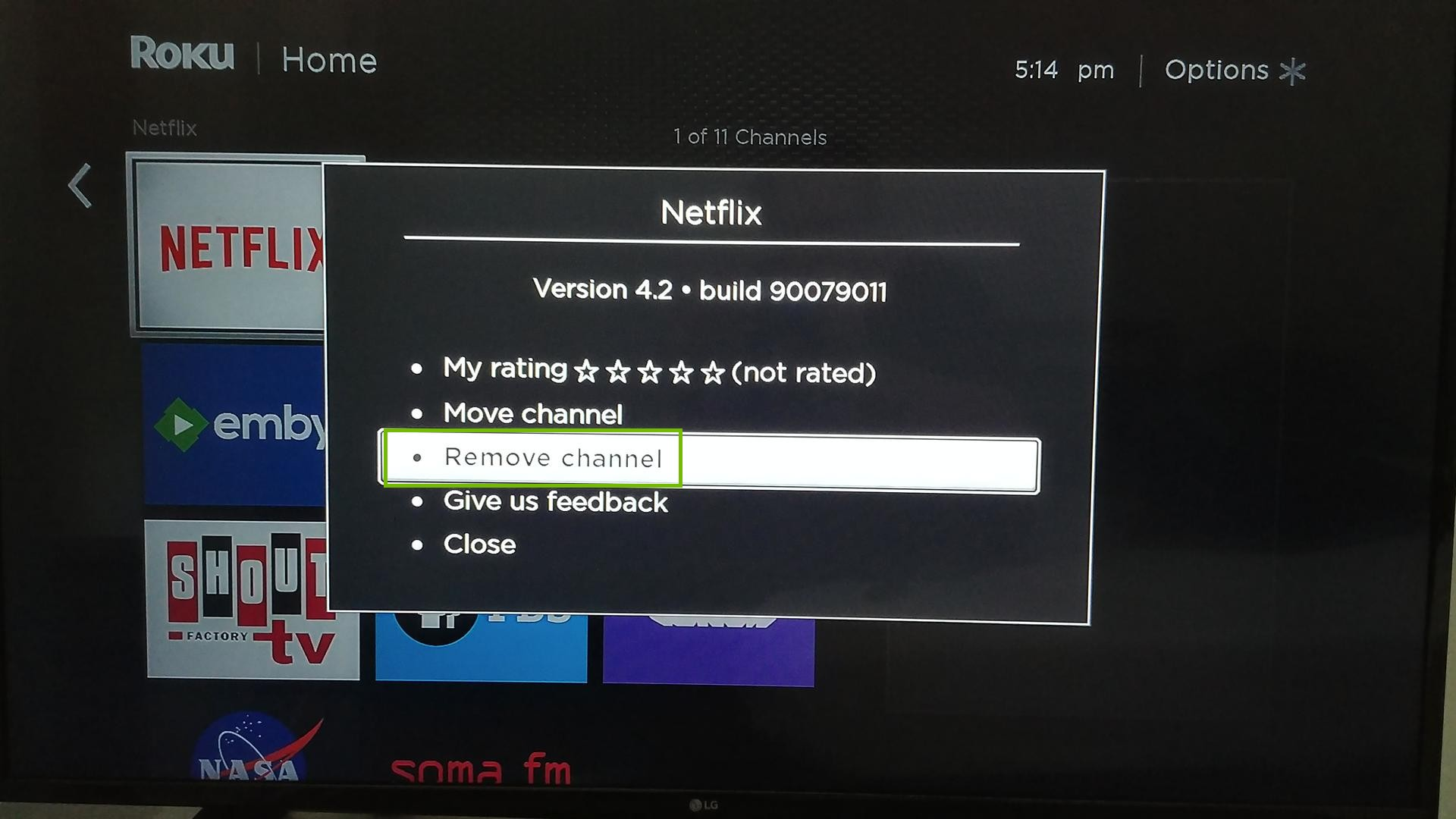 Roku TV app menu, highlighting the Remove channel option.
