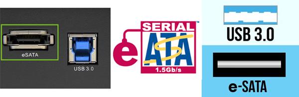 eSATA logo and illustrations of eSATA ports compared to USB 3.0.