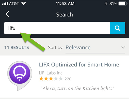 Lifx search and selection