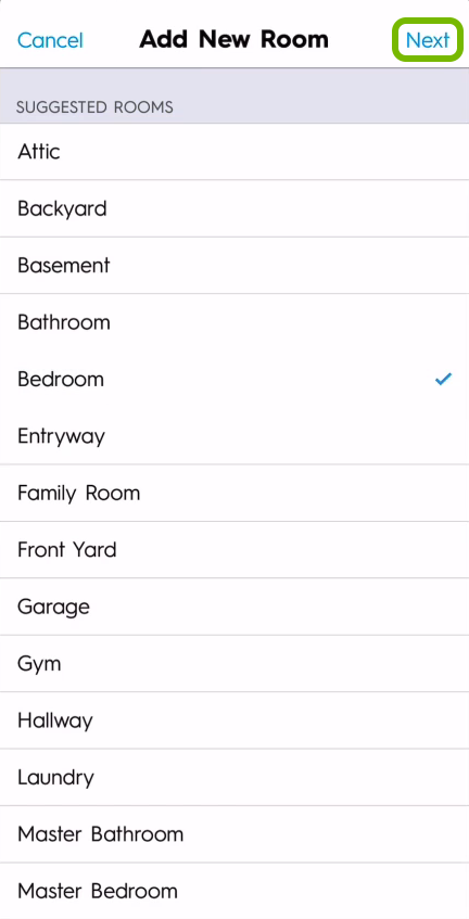 Next option highlighted in room name selection screen of C by GE app.
