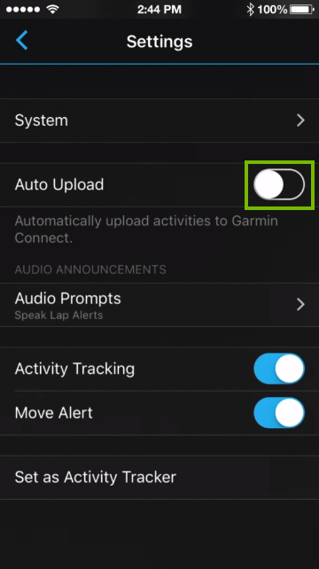 Auto upload option in mobile app