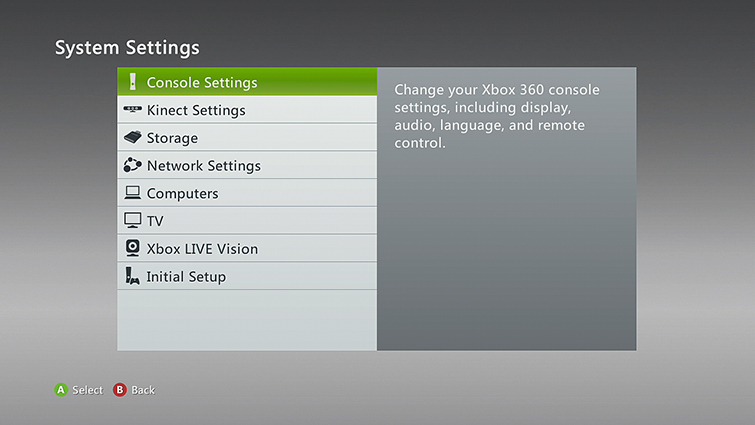 System Settings screen with Console Settings selected. Screenshot.