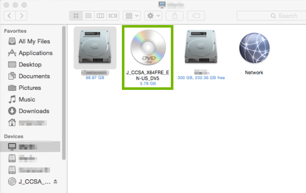Disc drive highlighted in macOS Finder.