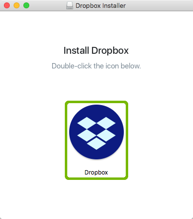 Dropbox installer with installer icon highlighted.