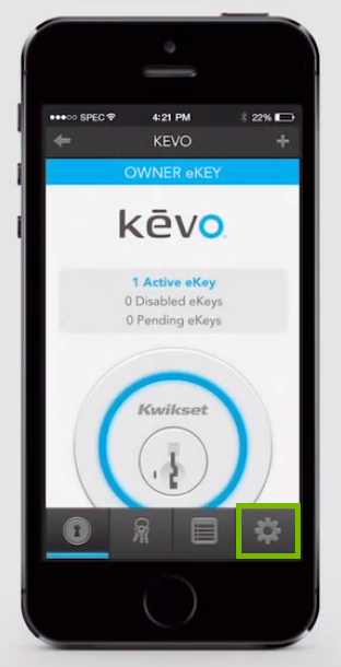 Screenshot of kevo main page with settings icon highlighted