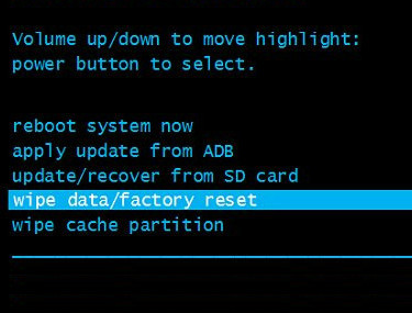 Recovery screen with wipe data/factory reset highlighted