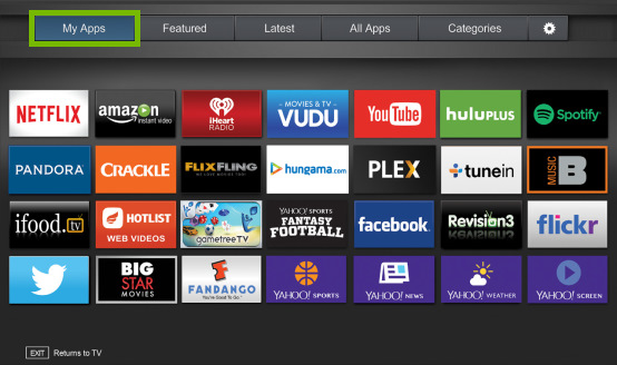 My Apps tab highlighted on Fullscreen VIA Plus Apps Window on VIZIO Smart TV.