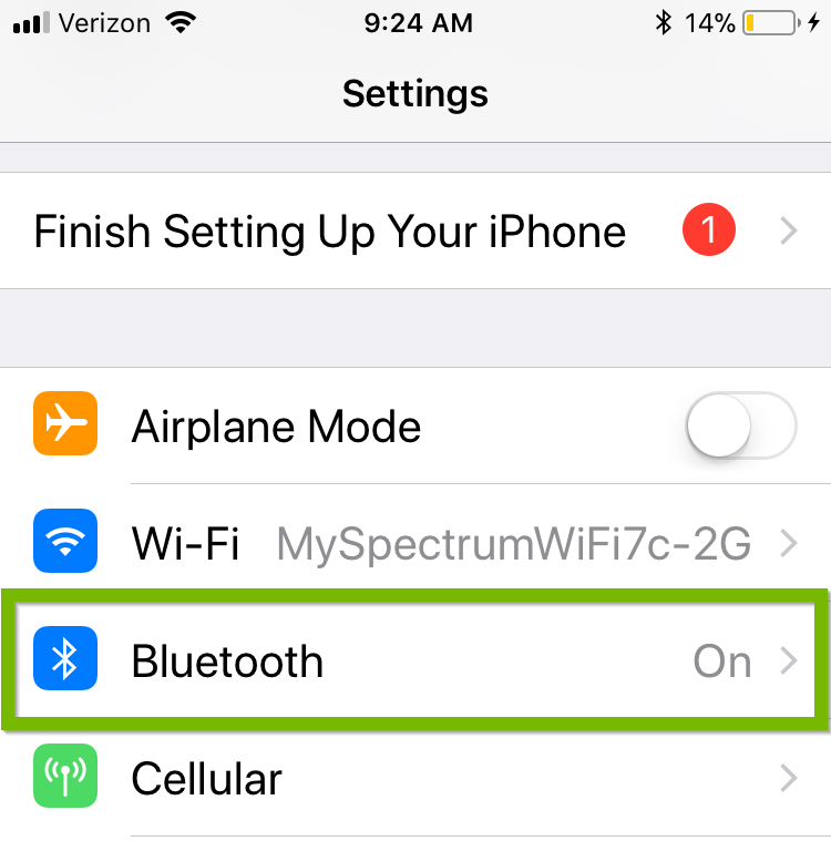 Screenshot of settings with Bluetooth menu item highlighted.