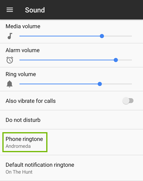 Sound Settings with Phone ringtone highlighted.
