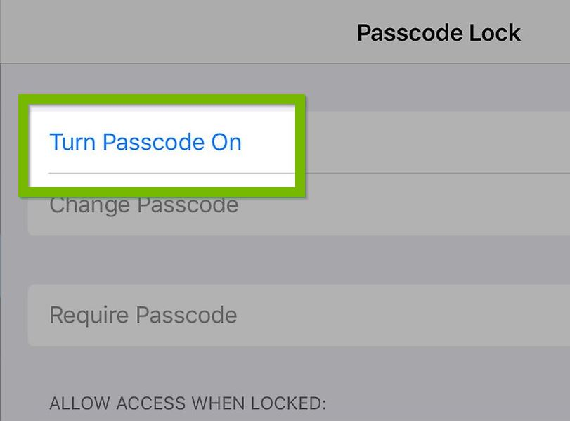 Turn passcode on option.