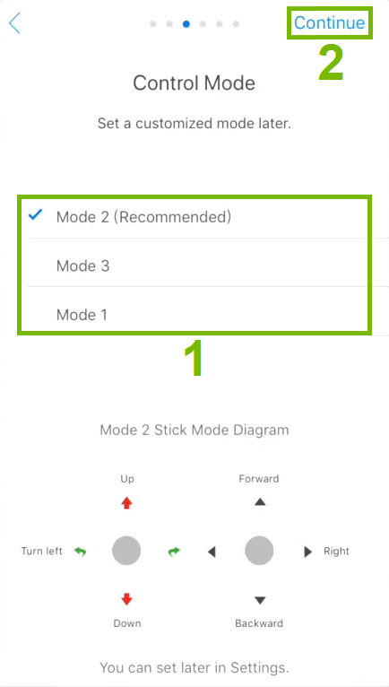 Control modes and Continue option highlighted in activation step.
