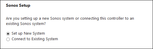 Sonos Setup initiation screen