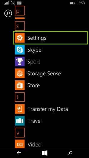 Windows phone menu highlighting the settings option.