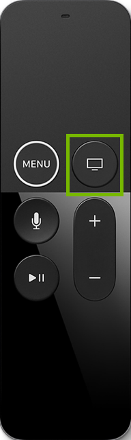 Apple TV remote highlighting the home button.
