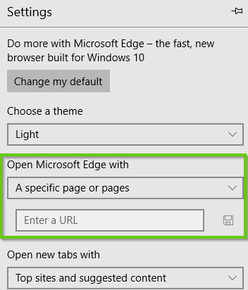 Edge homepage settings