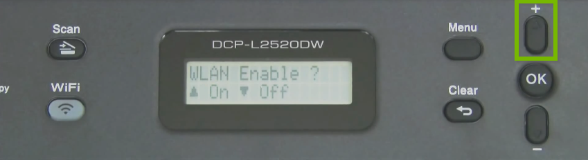 Brother printer control panel highlighting the plus button.