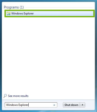 Start Menu with Windows Explorer highlighted