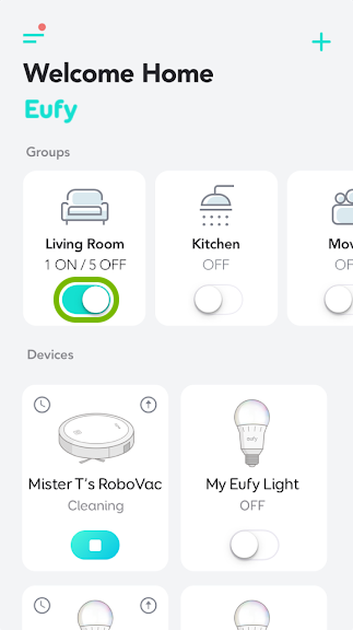 Toggle switch highlighted on bulb group tile in EufyHome app.