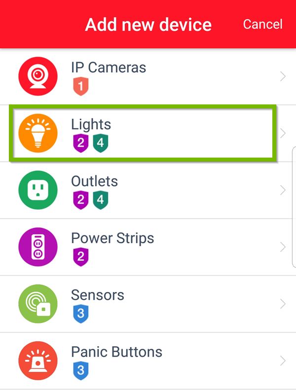 Add new device screen with Lights selected. Screenshot.