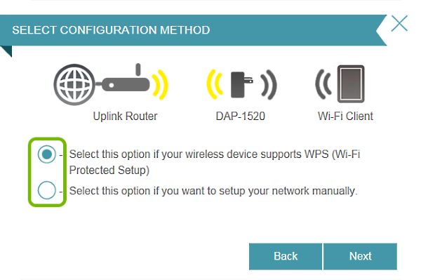 Setup method selections highlighted in connection setup wizard.