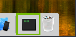 macOS Dock with the Downloads area highlighted.