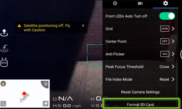 DJI go app showing format sd card