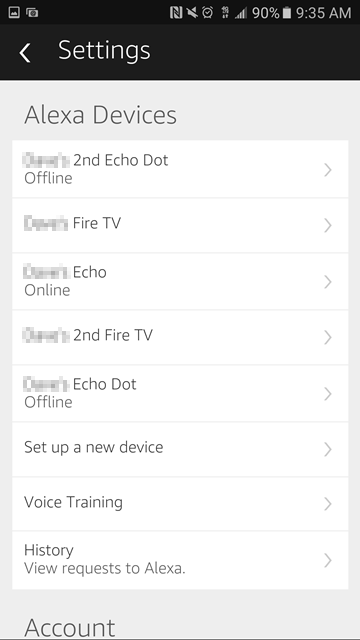 Echo devices showing in Alexa app settings.