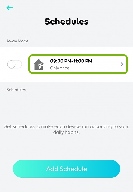 Away Mode option highlighted in schedule settings for selected plug in EufyHome app.