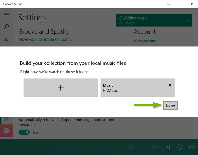 Groove music add music dialog box.