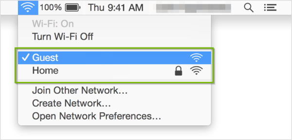 Wi-Fi menu with networks highlighted.