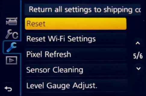 Camera screen showing setup menu